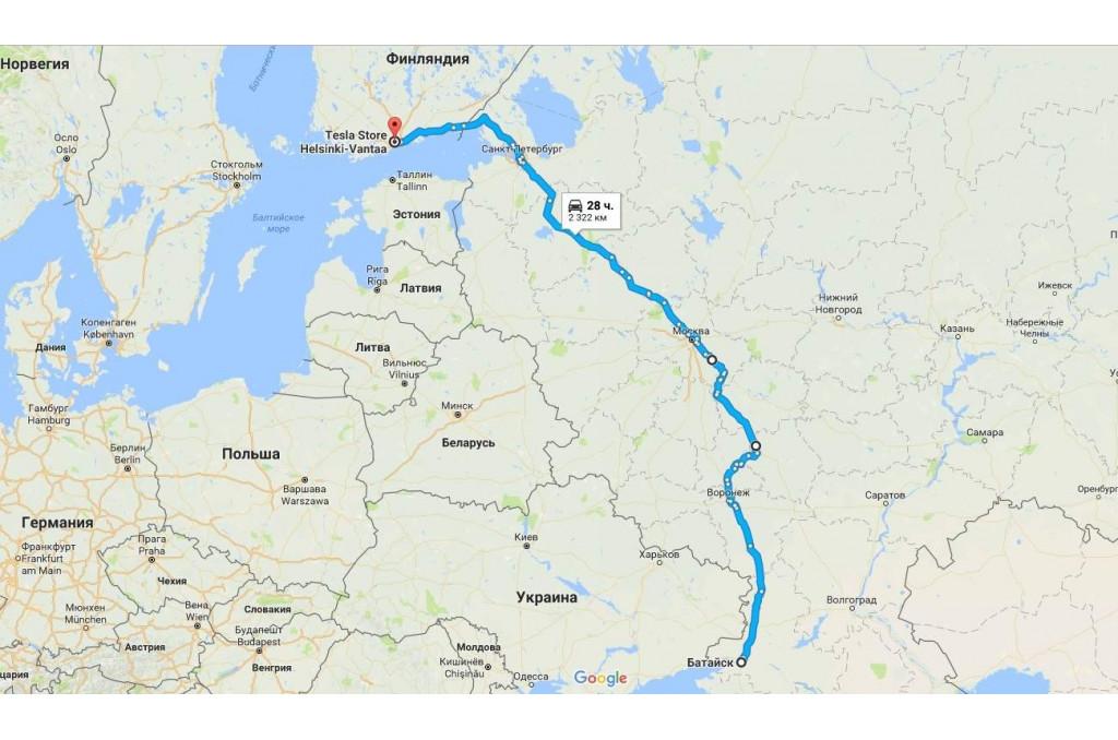 Tesla Model S - Батайск - Финляндия - ТО для Tesla
